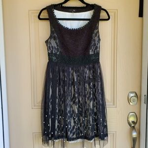Ryu Anthropologie Black Lace and Pearl Dress